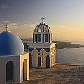 Churches At Sunset Firostefani Santorini Cyclades Greece  by Ivan Pendjakov