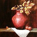 Clay Vessel And Peaches by Jody Scott Olson