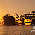 Container Ships Docked In Port Of Oakland by B Christopher