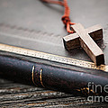 Cross On Bible by Elena Elisseeva