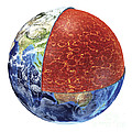Cross Section Of Planet Earth Showing by Leonello Calvetti
