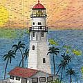 Diamond Head Lighthouse Hi Nautical Chart Map Art by Cathy Peek