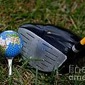 Earth Golf Ball And Golf Club by Amy Cicconi