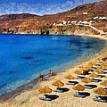 Elia Beach In Mykonos Island by George Atsametakis
