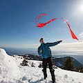 Flying A Kite On A Snowy Mountain by Christopher Kimmel