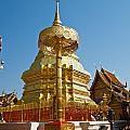 Golden Pagoda And Umbrella Wat Phrathat Doi Suthep Temple by Ammar Mas-oo-di