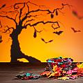 Halloween Tree Bats And Sweets by U Schade
