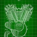 Harley Davidson Engine Patent 1919 - Green by Stephen Younts