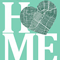 Houston Street Map Home Heart - Houston Texas Road Map In A Hear by Jurq Studio