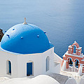 Iconic Blue Domed Churches In Oia Santorini Greece by Matteo Colombo