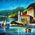 Italy Lake Como Villa Balbianello by Leonid Afremov