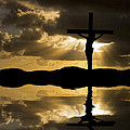 Jesus Christ Crucifixion On Good Friday Silhouette Reflected In  by Matthew Gibson