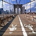 Lanes For Pedestrian And Bicycle Traffic On The Brooklyn Bridge by Amy Cicconi