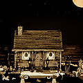 Log Cabin Scene With The Classic Old Vintage 1959  Dodge Royal Convertible At Midnight In Sepia  by Leslie Crotty