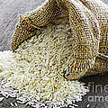 Long Grain Rice In Burlap Sack by Elena Elisseeva