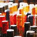 Many Wine Bottles Painting by Magomed Magomedagaev