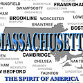 Massachusetts State Pride Map Silhouette  by Keith Webber Jr