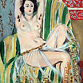 Matisse's Odalisque Seated With Arms Raised In Green Striped Chair by Cora Wandel