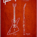 Mccarty Gibson Electrical Guitar Patent Drawing From 1958 - Red by Aged Pixel