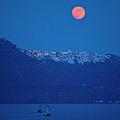 Moon Over Santorini by Brian Jannsen