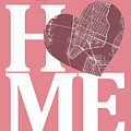 New York Map Home Heart - New York City New Yorkroad Map In A He by Jurq Studio