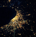 Night Time Satellite Image Of Chicago by Panoramic Images