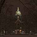 Notre Dame Golden Dome Snow by John Stephens