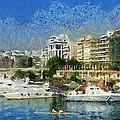 Panoramic Painting Of Pasalimani Port by George Atsametakis