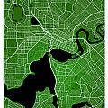 Perth Street Map - Perth Australia Road Map Art On Colored Backg by Jurq Studio