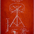 Portable Drum Patent Drawing From 1903 - Red by Aged Pixel