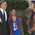 President Obama And Daughters by JP Tripp