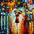 Rain Princess - Palette Knife Landscape Oil Painting On Canvas By Leonid Afremov by Leonid Afremov