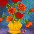 Red And Orange Flowers by Pamela Allegretto