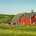 Red Barn And Fence On Farm In Maine by Keith Webber Jr