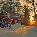 Red House In The Winter by Bruce Nutting