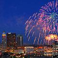 D21l-10 Red White And Boom Fireworks Display In Columbus Ohio by Ohio Stock Photography