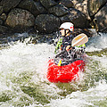 Red Whitewater Kayak by Les Palenik