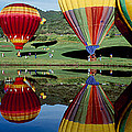 Reflection Of Hot Air Balloons by Panoramic Images