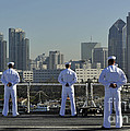 Sailors Man The Rails Aboard by Stocktrek Images