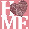 San Diego Street Map Home Heart - San Diego California Road Map  by Jurq Studio