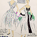 Vintage Fashion Sketches And Fabric Swatches by French School