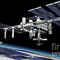 Space Station In Orbit Around Earth by Leonello Calvetti