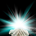 Spiritual Light In Cupped Hands On A Black Background by Simon Bratt Photography LRPS