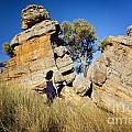 Split Rocks With Woman by Tim Hester