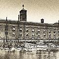 St Katherine's Dock London Sketch by David Pyatt