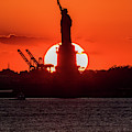 Statue Of Liberty Sunset. Nyc Harbor by Panoramic Images