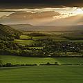 Stunning Summer Sunset Over Countryside Escarpment Landscape by Matthew Gibson