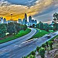 Sun Setting Over Charlotte North Carolina A Major Metropolitan C by Alex Grichenko
