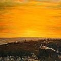 sunset over Jerusalem by Adel Sansur