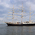 Tall Ship At Anchor by Colin Porteous